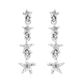 Diamond (Rnd) Star Earrings (with Push Back) in Platinum Overlay Sterling Silver 0.100  Ct.