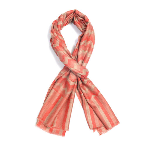 100% Cashmere Wool Salmon and Off White Colour Chevron Pattern Scarf (Size 180X70 Cm)