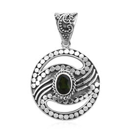 Royal Bali Collection 1.40 Ct Russian Diopside Circle Pendant in Sterling Silver 5.80 Grams