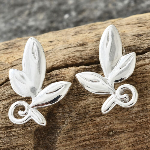 One Time Deal- Sterling Silver Leaf Earrings (with Push Back), Silver wt 5.32 Gms.
