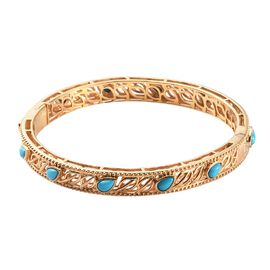 Sleeping Beauty Turquoise Full Bangle in 14K Gold Overlay Sterling Silver 3.50 ct,  Sliver Wt. 19 Gm