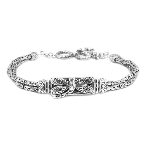 Royal Bali Collection Sterling Silver Dragonfly Bracelet (Size 8 with Extender), Silver wt 22.00 Gms.