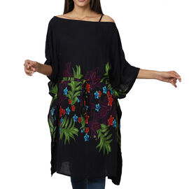 Floral printed Kaftan with Waist Belt  (Size S to XXL 91x105cm)  - Black