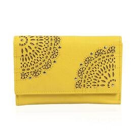 Cecilla Laser Cut Design100% Genuine Leather Yellow Colour RFID Blocker Wallet (Size 15x10 Cm)