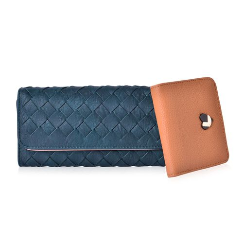 Set of 2 - Dark Green Colour Weave Pattern Long Wallet (Size 19.5x10x2.5 Cm) and Brown Colour Small Wallet (Size 11x10 Cm)