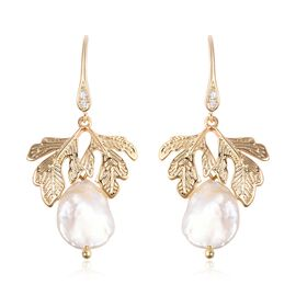 One Time Deal-Keshi White Pearl and White Austrian Crystal Dainty Leaf Hook Earrings in Gold Plated