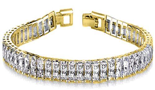 New York Close Out Deal- Cubic Zirconia Bracelet (Size 8) Princess Cut Yellow Gold Tone