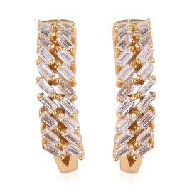 ELANZA Simulated White Diamond (Bgt) Hoop Earrings (with Clasp) in Yellow Gold Overlay Sterling Silv