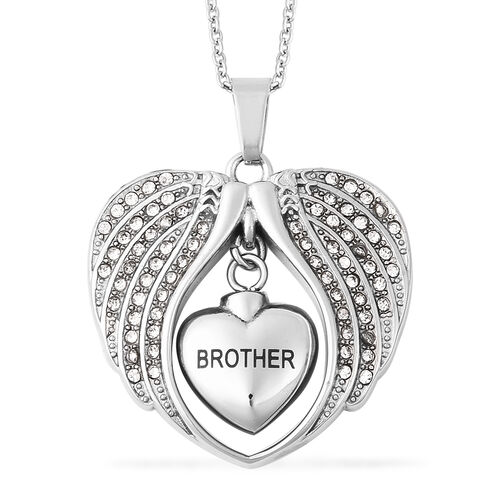 White Austrian Crystal Brother Angel Wing Heart Memorial Urn Pendant with Chain (Size 20) in Stainle