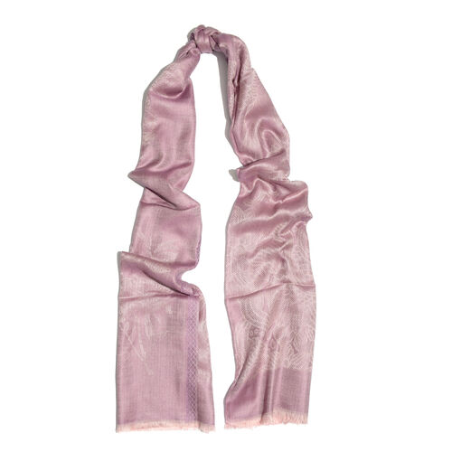 Purple and Silver Colour Flower and Leaves Pattern Jacquard Scarf (Size 190x70 Cm)