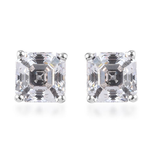 J Francis Platinum Overlay Sterling Silver Stud Earrings (with Push Back) Made with SWAROVSKI ZIRCON