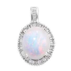 Limited Edition- Rare Size Ethiopian Welo Opal (Ovl 12x10 mm, 3.10 Ct), Diamond Pendant in Platinum Overlay Sterling Silver 3.500 Ct.