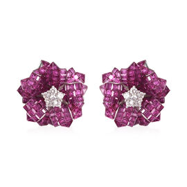 Lustro Stella - Simulated Ruby and Simulated Diamond Floral Stud Earrings (with Push Back) in Rhodiu