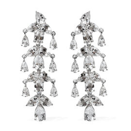 14.98 Ct Petalite Drop Earrings in Rhodium Plated Sterling Silver 9.25 Grams