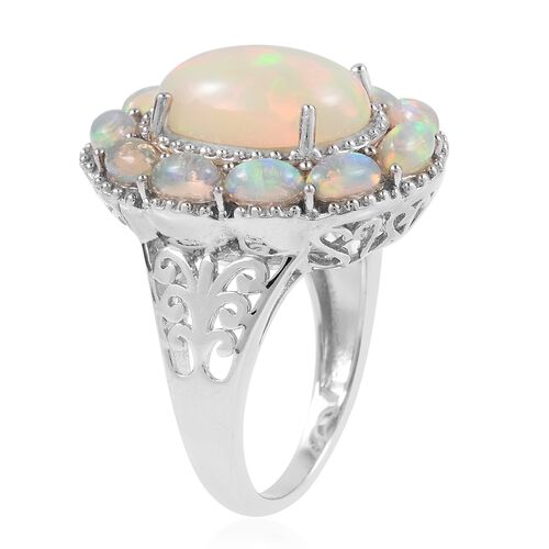 Cocktail Collection- Ethiopian Welo Opal (Ovl 14x10 mm), Ring in Rhodium Overlay Sterling Silver 5.750 Ct, Silver wt 7.48 Gms.