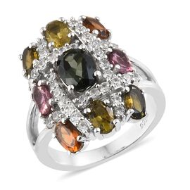 3.50 Ct Rainbow Tourmaline and Zircon Cluster Ring in Platinum Plated Silver 5.22 Grams