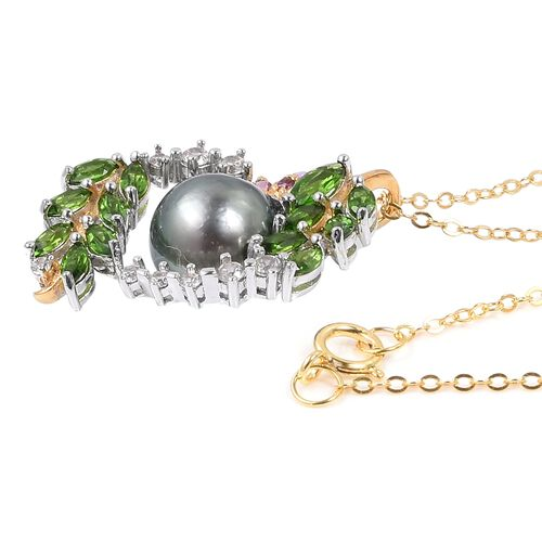 Tahitian Pearl, Russian Diopside, Natural Cambodian White Zircon, Rhodolite Garnet and Amethyst Pendant with Chain in Rhodium and Black Plating Sterling Silver 8.870 Ct.