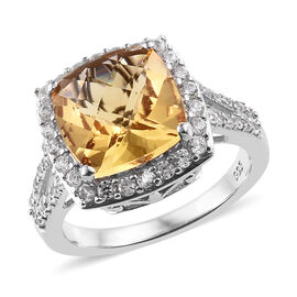 Golden Beryl (Cush 3.50 Ct), Natural Cambodian Zircon Ring (Size N) in Platinum Overlay Sterling Silver 4.665