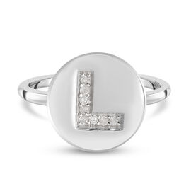 White Diamond Initial-L Ring in Platinum Overlay Sterling Silver