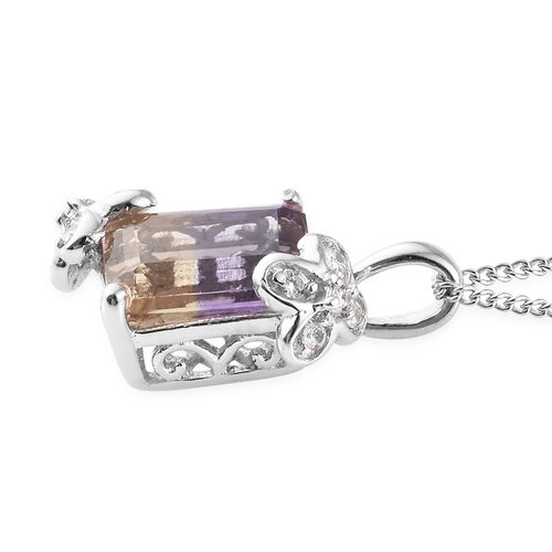 Natural Anahi Ametrine (Oct), Natural White Cambodian Zircon Pendant with Chain (Size 20) in Platinum Overlay Sterling Silver 2.500 Ct