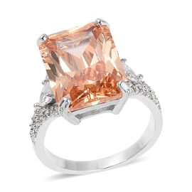 Simulated Morganite and Simulated Diamond Solitaire Design Ring in Silver Tone