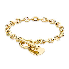 9K Yellow Gold Oval Belcher Bracelet (Size 8) with Heart Tag Charm, Gold Wt. 7.35 Gms