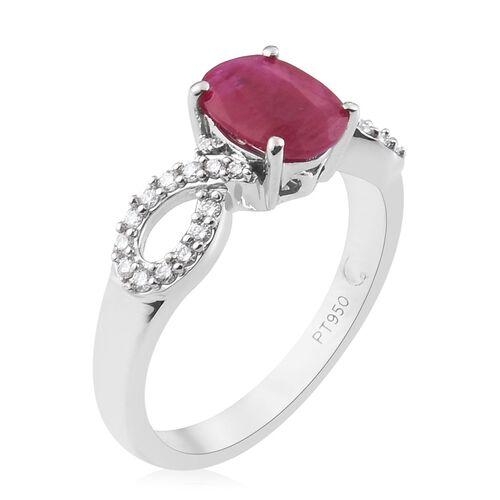 RACHEL GALLEY - 950 Platinum AAAA Burmese Ruby and Diamond (VS/E-F) Ring 1.75 Ct, Platinum wt. 5.30 Gms