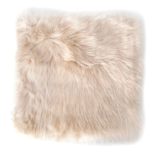 Set of 2 - Luxury Shaggy Pile Super Deep Faux Sheep Skin Cushione Covers (Size 45x45 Cm) Ivory