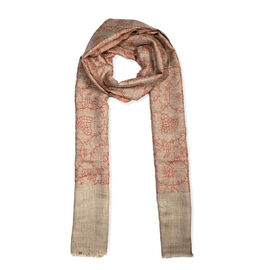 Limited Available -100% Cashmere Wool Seamless Floral Pattern Scarf (Size 70x200 Cm) - Rust Orange