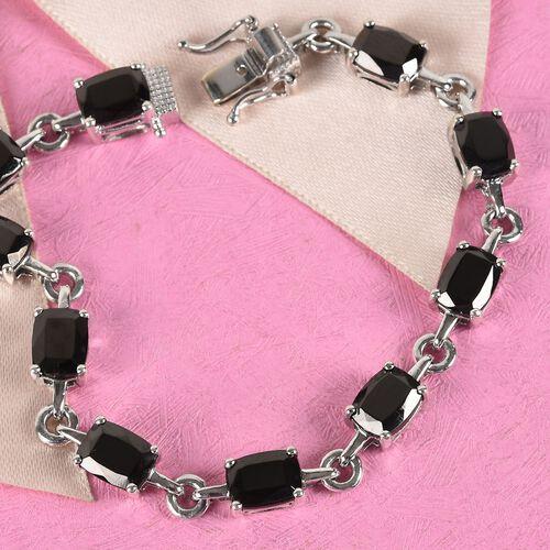 Elite Shungite Bracelet (Size 7.75 ) in Platinum Overlay Sterling Silver 11.00 Ct, Silver wt 10.93 Gms