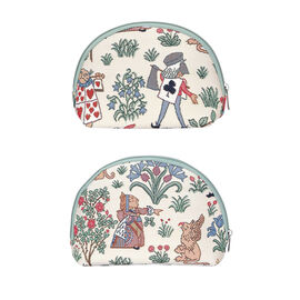 Signare Tapestry - Big Cosmetic bag in Alice in Wonderland design (24.5 x 15.5 x 8.8 cms) with Free