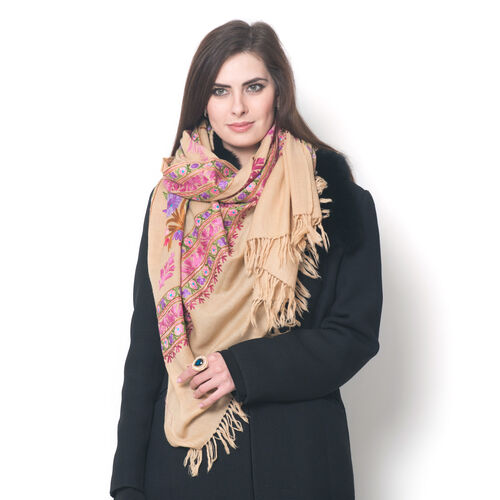 Limited Available - 100% Merino Wool Multi Colour Flowers and Leaves Embroidered Peach Colour Scarf (Size 190x70 Cm)