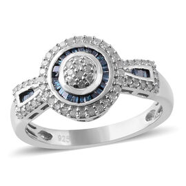 Blue and White Diamond (Rnd and Bgt) Ring in Platinum Overlay Sterling Silver 0.50 Ct, Number of Dia
