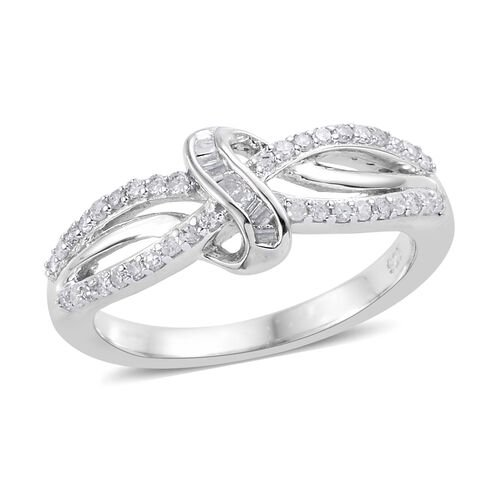 0.25 Carat Diamond Infinity Knot Ring in Platinum Plated Sterling Silver