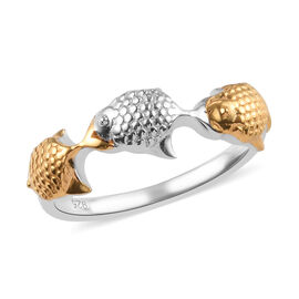 Platinum and Yellow Gold Overlay Sterling Silver Fish Ring