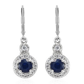 Blue Spinel (Rnd), Natural Cambodian Zircon Lever Back Earrings in Platinum Overlay Sterling Silver 1.500 Ct.