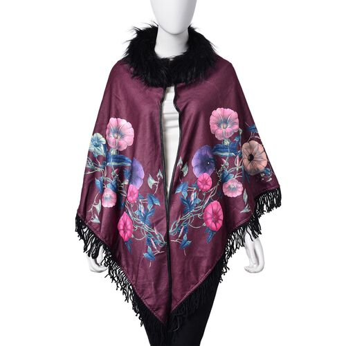 Designer Inspired Burgundy Floral Pattern Faux Fur Collar Reversible Poncho with Tassels (Free Size)