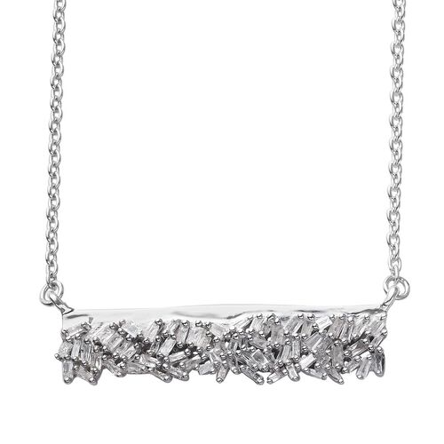 GP 0.50 Ct Diamond and Blue Sapphire Collar Necklace in Platinum Plated Sterling Silver 18 Inch