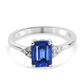 950 Platinum  Tanzanite   White Diamond  Main Stone With Side Stone Ring 1.78 ct,  Platinum Wt. 4.89