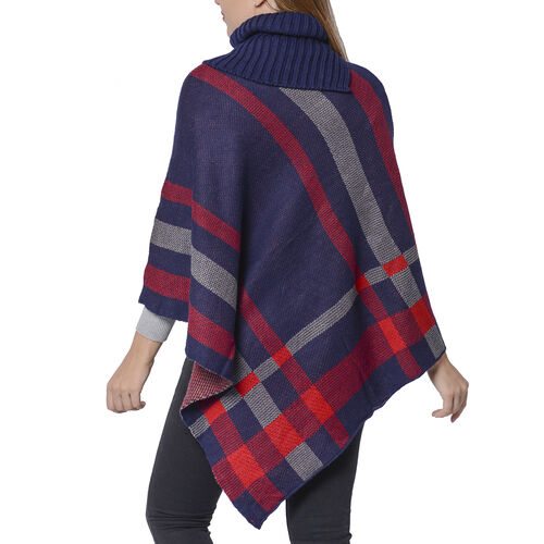 Designer Inspired- Winter Navy & Wine Red Colour Roll Neck Checker Pattern Poncho (Size 68x90 Cm)