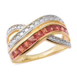 Limited Edition- Designer Inspired Sunset Sapphire (Princess Cut) Ring in Rhodium and Yellow Gold Ov