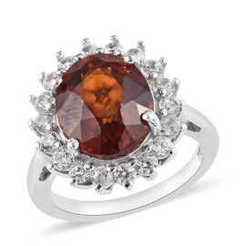 Ratnapura Hessonite Garnet (Ovl 12x10 mm), Natural Cambodian Zircon Ring in Platinum Overlay Sterlin