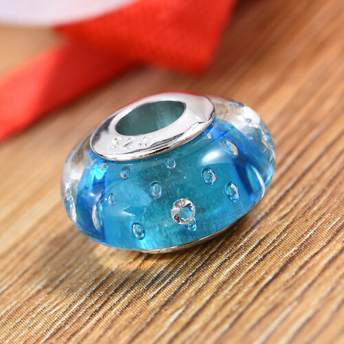 Charmes De Memoire Aqua Murano Style Glass Bead Charm in Platinum Plated Sterling Silver