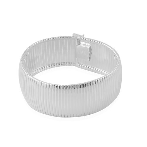 Italian Made Cleopatra Bracelet in Rhodium Plated Silver 50.71 grams 8 Inch