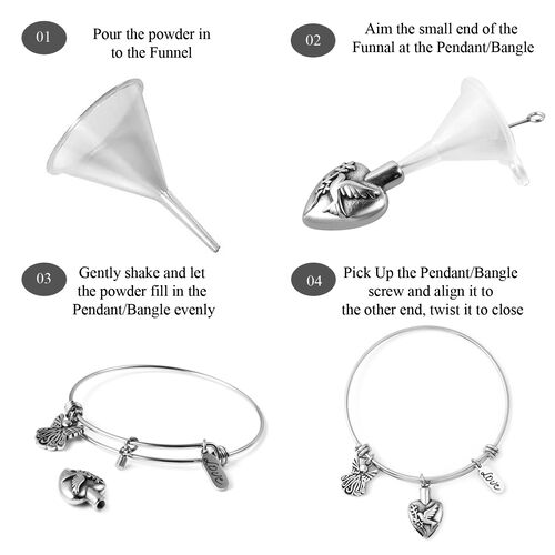 2 Piece Set - Memorial Multi Charm Adjustable Bangle (Size 7.25) and Funnel with Needle in Stainless Steel