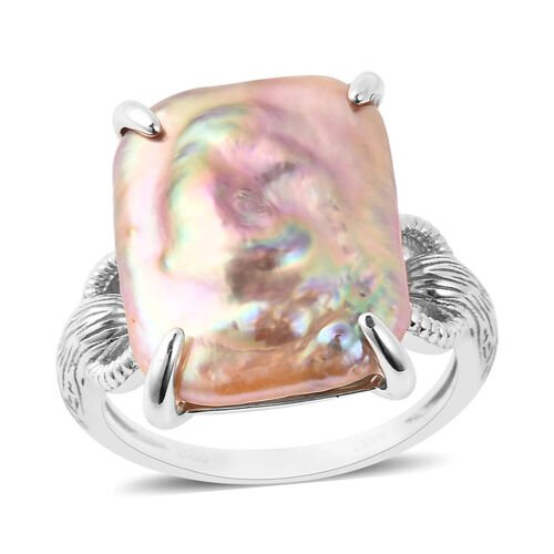 Baroque Pearl Solitaire Ring in Rhodium Plated Sterling Silver
