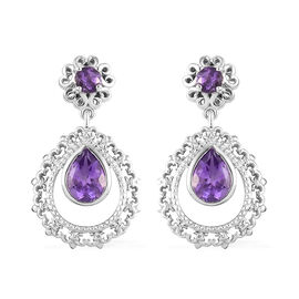Moroccan Amethyst Dangling Earrings (with Push Back) in Platinum Overlay Sterling Silver 2.50 Ct, Si