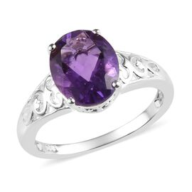 Amethyst (Ovl 10x8 mm) Solitaire Ring (Size L) in Sterling Silver 2.25 Ct.