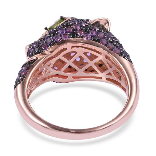 Designer Inspired- Zambian Amethyst,Boi Ploi Black Spinel and Russian Diopside Panther Face Ring in Black and 14K Rose Gold Overlay Sterling Silver 2.850 Ct. Silver wt 6.50 Gms.