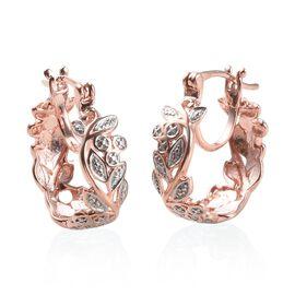 Diamond Hoop Earrings in Rose Gold Plated Silver 3.70 Grams